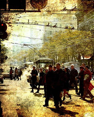 Photograph - Crossing Market Street 2 . Texture by Wingsdomain Art and Photography