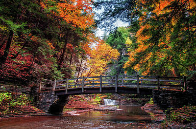 Buttermilk Falls Photograph - Crossing Over by Mark Papke