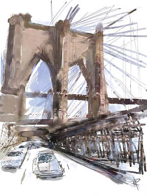 Brooklyn Bridge Mixed Media - Crossing Over by Russell Pierce