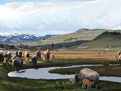 Wall Art - Painting - Crossing Slough Creek by Pam Little