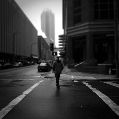 Crosswalk Photograph - Crossing Stranger by Henry Lohmeyer