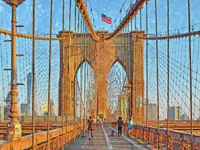Digital Art - Crossing The Brooklyn Bridge by Digital Photographic Arts