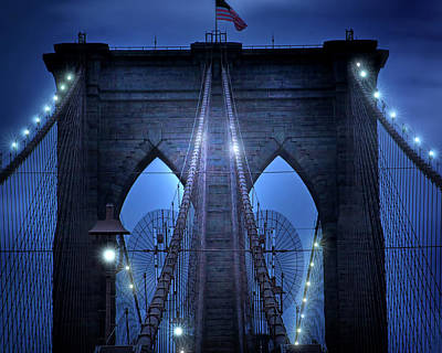 Photograph - Crossing The Brooklyn Bridge by Mark Andrew Thomas