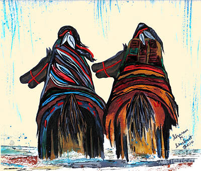 Horse Giclee Painting - Crossing The Red River by Sharon K Shubert