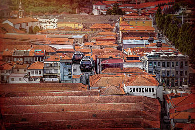 Photograph - Crossing The Red Rooftops Of Porto Portugal  by Carol Japp