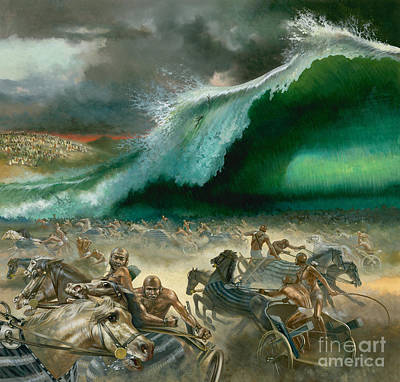 Great Wave Painting - Crossing The Red Sea by Anonymous