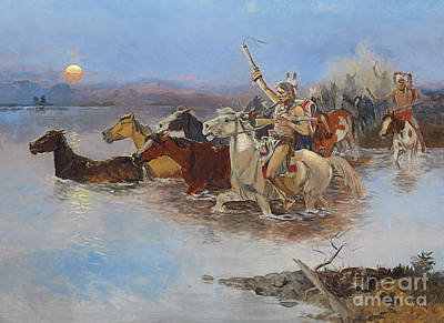 Sun River Painting - Crossing The River by Charles Marion Russell