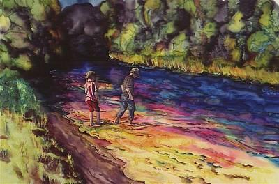 Crossing The Stream Print by Carolyn Doe