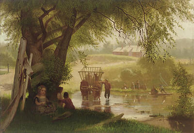 Crossing The Stream Art Print by John George Brown