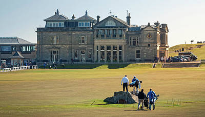 Golf Photograph - Crossing The Swilcan Bridge, St Andrews by Alex Saunders