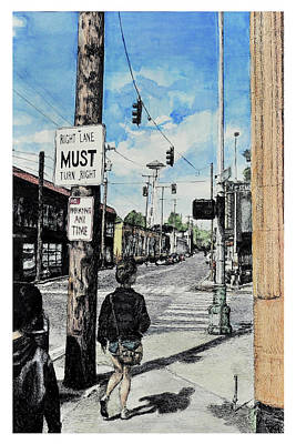 Streetscape Drawing - Crossing Westlake by Madeline Lee