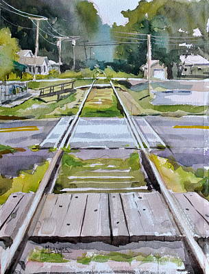 Train Tracks Painting - Crossings by Spencer Meagher