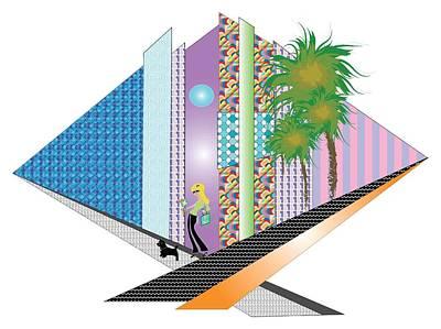 Digital Art - Futuristic Urban Abstract City Illustration by Inge Lewis