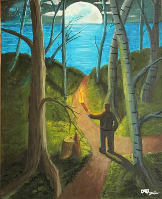 Man In The Moon Painting - Crossroads by David Bigelow