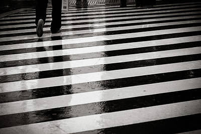 Crosswalk In Rain Art Print by photo by Jason Weddington