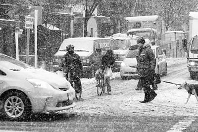 Photograph - Crosswalk In Snow by Dave Beckerman