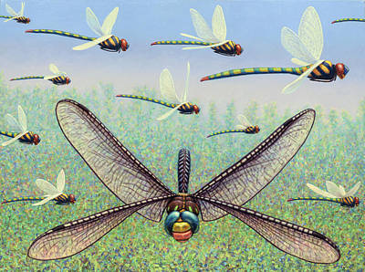 Dragonfly Painting - Crossways by James W Johnson