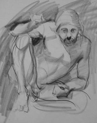 Drawing - Crouching Model by Robert Holden