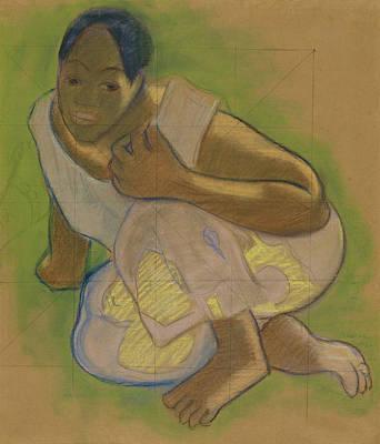 Drawing - Crouching Tahitian Woman by Paul Gauguin