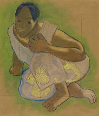 Crouching Tahitian Woman Art Print