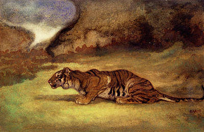 Glen Painting - Crouching Tiger by Antoine Louis Barye