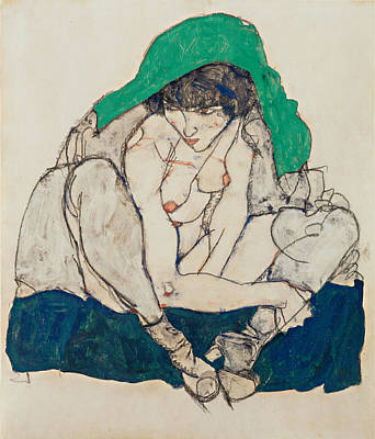 Top With Oil Painting - Crouching Woman With Green Headscarf 1914 by Egon Schiele