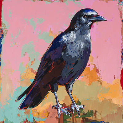 Bird Painting - Crow #3 by David Palmer