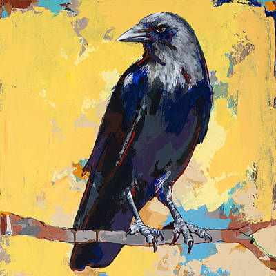 Raven Painting - Crow #4 by David Palmer