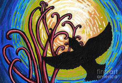 Crow And Full Moon In Winter Art Print