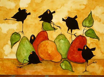 Pear Tree Painting - Crow Bird Blackbird Raven Wildlife Animal Pear Italian Whimsical Folk Debi Hubbs Children Art by Debi Hubbs