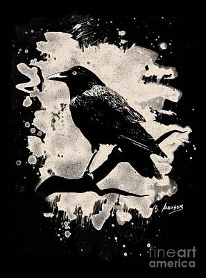 Crow Bleached Look Art Print by Bela Manson
