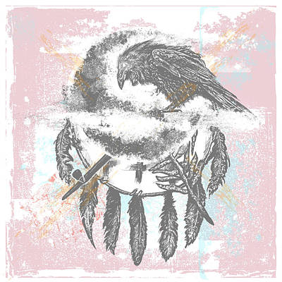 Indian Tribal Art Drawing - Crow by Chad Lonius