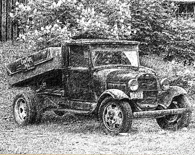 Ford Truck Drawing - Crow Creek Mine Truck Sketch by Diane E Berry