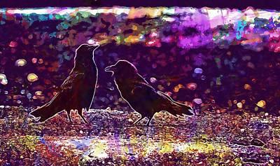 Corvid Digital Art - Crow Farm Corvid Agriculture Bird  by PixBreak Art