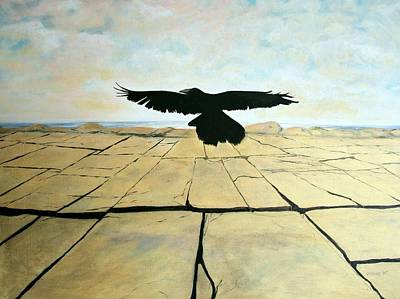 Burren Painting - Crow In Flight by Martine Murphy