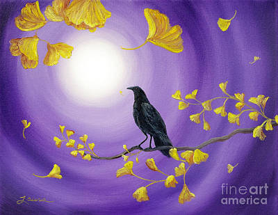 Visionary Art Painting - Crow In Ginkgo Leaves by Laura Iverson