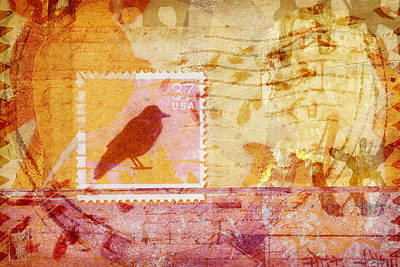 Montage Mixed Media - Crow In Orange And Pink by Carol Leigh