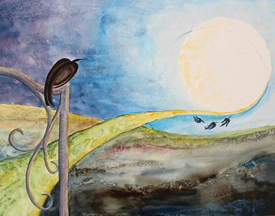Painting - Crow Moon by Lesley Atlansky