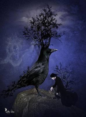 Digital Art - Crow Of Branches by Ali Oppy