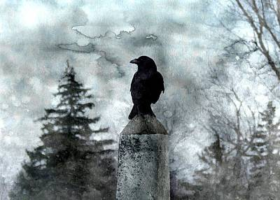 Crow On A Obelisk In Winter Art Print by Gothicrow Images