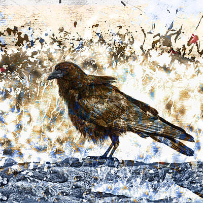 Montage Photograph - Crow On Blue Rocks by Carol Leigh