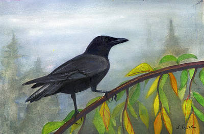 Egg Tempera Mixed Media - Crow On Branch by Lori  Presthus