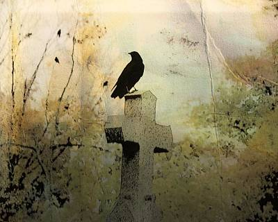 Fall Scenes Photograph - Crow On Old Cross Among The Fall Trees  by Gothicrow Images