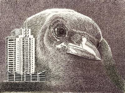 Drawing - Crow Over Casino Windsor by Wade Clark