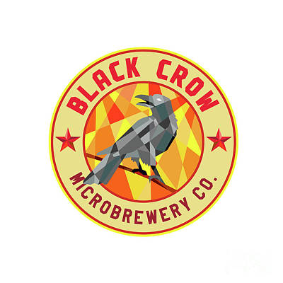 Crow Perched Microbrewery Circle Low Polygon Art Print