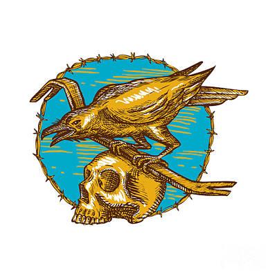 Jimmy Drawings Digital Art - Crow Perching Crowbar Skull Barbed Wire Drawing by Aloysius Patrimonio