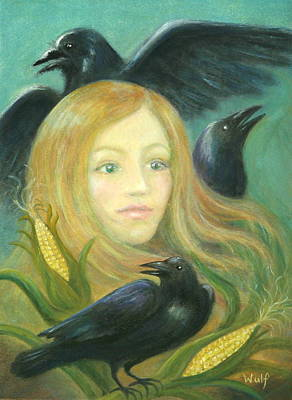 Painting - Crow Queen by Bernadette Wulf