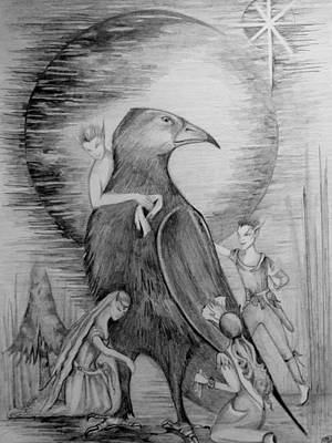 Pixie Drawing - Crow by Rachel Henderson