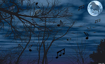 Crow. Bird Music Photograph - Crow Sings At Midnight by Evelyn Patrick