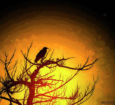 Digital Art - Crow Resting In Sunset by Ken Morris